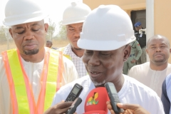 Hon. Minister Giving an Interview After the Site Tour