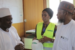The Hon. Minister with the EEP Head  Component at the Project Site Office