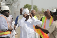 The Honourable Minister Wearing his Personal Protective Equipment before the Site Tour