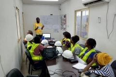 UNILAG STEM Female students, receiving HSE training on General safety measures  in a construction site. Facilitated by the HSE site supervisor -SWNL