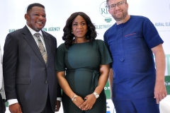 L-R;Minister of State, Power,Mr Goddy Jedy-Agba,OFR,Managing Director /CEO Rural Electrification Agency,Mrs Damilola Ogunbiyi and Chief Executive Officer,All On,Dr. Wieber Boer during the Rural Electrification  Energizing Education Programme female Stem Workshop in Lagos