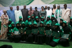 Group photo of VIPs with graduating STEM internship students of Bayero University Kano during the EEP solar hybrid project commissioning at BUK