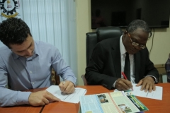 The Vice Chancellor Prof. Akii Ibhadode and the Project Manager Marinos Kostakis from METKA Signing the Site Handover Form